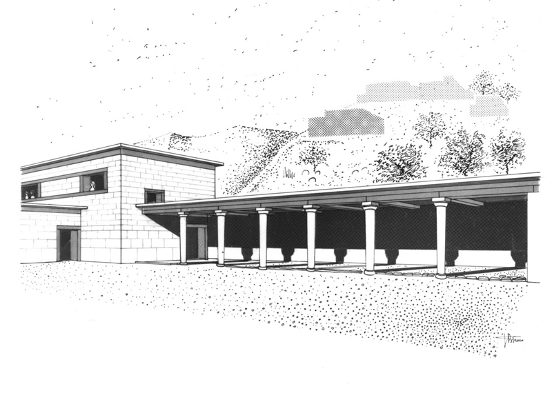 a rendition of the ancient stoa found at Kommos.
