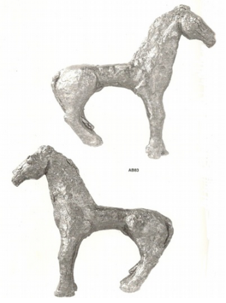 Kommos bronze horse figurine found below the Egyptian god statuettes