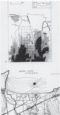 Fig. 10: Map of Knossos area and its ports; plan of Amnisos.