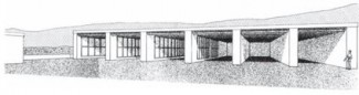 Fig. 3: Kommos: restored view of Building P, looking east.