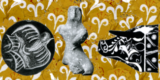 Kommos Artifacts. bead-seal with bird-woman,Terracotta figurine, Bulls head Rhyton. Background: lilly fresco fragments.
