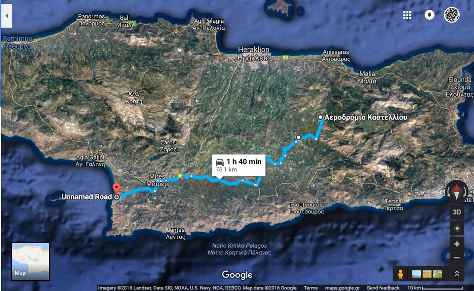 Photo: Google map & statistics Kastelli airport to Kommos (Ref 5)